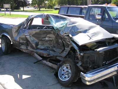 Bad Car Accident As Pickup Truck Slams Into Used Saloon