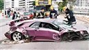 Jamiroquai crashes his purple Lamborghini Diablo in October 2006