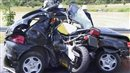 Motorbike crashes into the side of a Peugeot 106 on a motorway