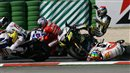 Alex De Angelis crashes into Colin Edwards in MotoGP race in Misano