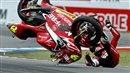 Alvaro Bautista crashes at a MotoGP race in 2009