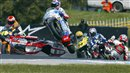Casey Stoner crashes at the 250cc grand prix in Australia 2005